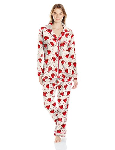 Bottoms Out Women's Printed Micro Fleece Sleep Set, Ivory/Red, Large