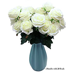 DAMOOSS White Rose Flower Bouquet 2 Bundles with 20 Heads,Artificial Silk Rose Flower Perfect for Birthdays, Wedding or Anniversary 38