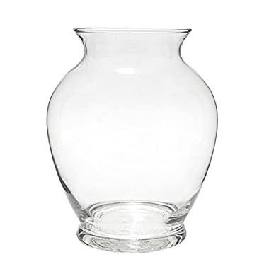 Flower Glass Vase Decorative Centerpiece For Home or Wedding by Royal Imports - Ginger Vase, 7.5  Tall, 4  Opening