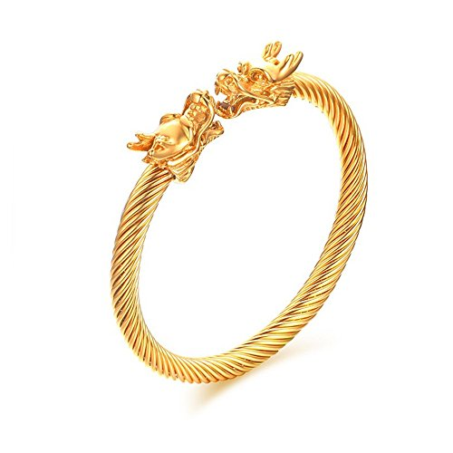 Yeegor Mens Bracelet Stainless Steel Double Heads Dragon Twisted Wire Viking Cuff Bangle Adjustable (Gold) ()