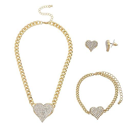 Lux Accessories Goldtone Bling Heart Chain Earring Bracelet Necklace Set (3PCS)