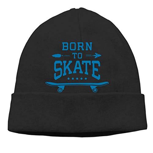 (Skateboard Born to Skate Men/Women Great Thermal Winter Ski Beanie Skull Cap)