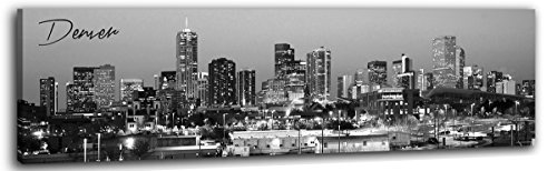 DJSYLIFE- Denver Skyline Wall Art,Black and White Stretched Canvas Wall Art Prints for Bedroom or Office Decoration, Ready to Hang 13.8