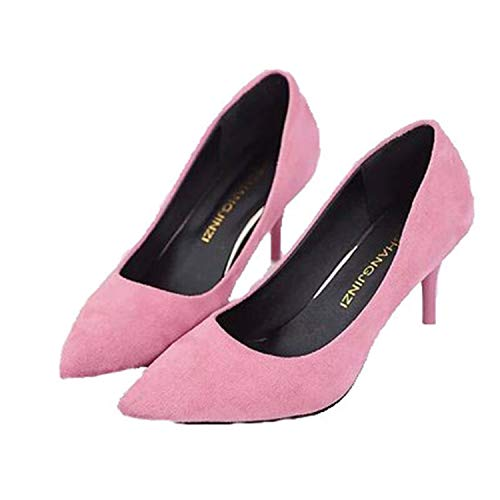 Heels Suede Mujer Pink Shoes Plus Women Shoes Fashion Pointed Brand High Size High Bxingxianx Heeled 8cm ZtaHn