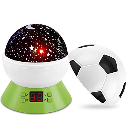 ANTEQI Night Light Star Projector for Kids 360 Degree Rotating Multiple Colors Led Moon Star Soccer Lights with Setting Time for Baby Children Bedroom Nursery Decor
