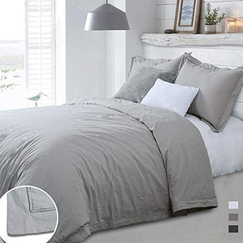 YINFUNG Greige Duvet Cover King Washed Cotton Taupe Neutral Gray 3PC Percale Duvet Cover Set 104x90 Flange 100 Cotton Quilt Cover Brown Border Stitch Down Comforter Cover Bedding Set 2 Pillow Shams