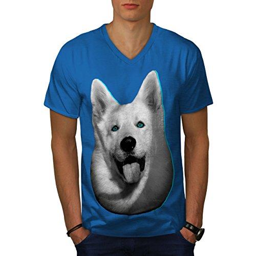 (wellcoda Cute Huskey Animal Dog Mens V-Neck T-Shirt, Animal Graphic Print TeeRoyal Blue)