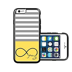RCGrafix Brand Forever Young Lemon Yellow & Grey Stripes Black iPhone 6 Case - Fits NEW Apple iPhone 6