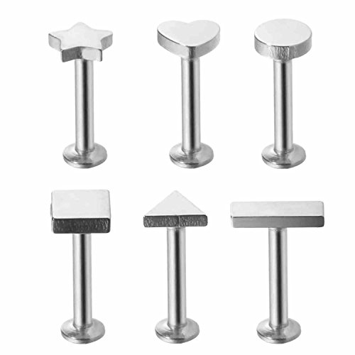 BodyJ4You 6-Pieces Labret Stud Cartilage Tragus Set 6mm or 8mm Earrings Barbell Kit 16G (1.2mm)
