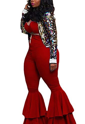 Bluewolfsea Women Sexy 2 Piece Outfits Cute Crop Top + High Waist Ruffle Bell Bottom Pants Set