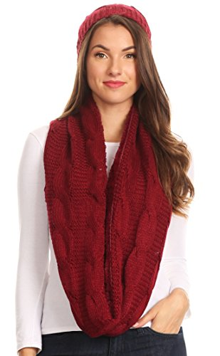 Scarf Cable Knit Long (Sakkas 16138 - Olliey Long Wide Classic Cable Knit Fur Lined Infinity Scarf And Hat Set - Burgandy - OS)