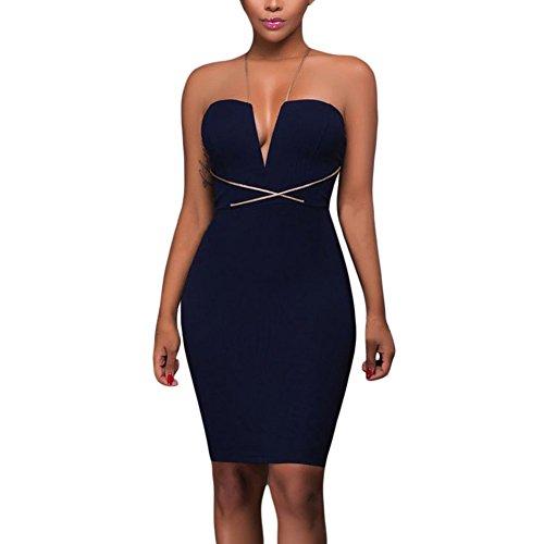 ZQA&N Falda mujer _ Mini Vestido Sling con cuello en V sin mangas vestido Slim Azul, S M