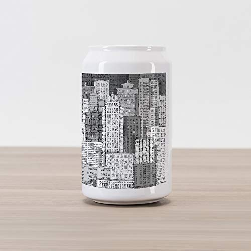 - Lunarable New York Cola Can Shape Piggy Bank, High Buildings of Metropolitan Life Skyscrapers and Twin Towers, Ceramic Cola Shaped Coin Box Money Bank for Cash Saving, Charcoal Grey White and Grey