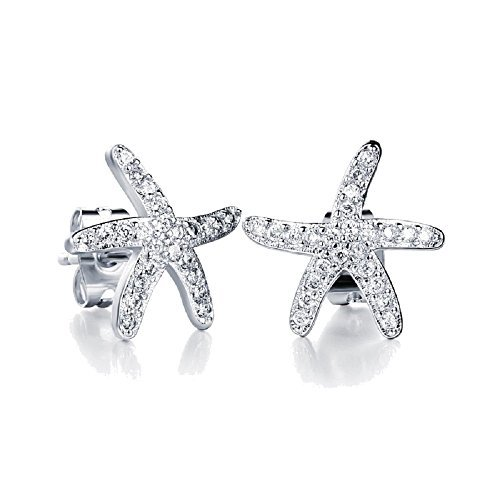 ski White Starfishes Stud Earrings 18 ct White Gold Plated for Women and Girls ()