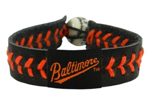 Baltimore Orioles Black Leather - MLB Baltimore Orioles Script Logo Black Leather/ Orange Thread Team Color Baseball Bracelet