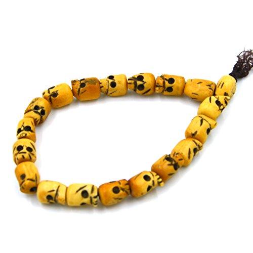 HZMAN Ox Bone Carved Skull Beads Tibet Buddhist Prayer Bracelet Mala Elastic, Unisex,9 Inch