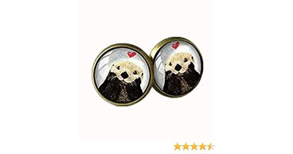 GiftJewelryShop Bronze Retro Style Christmas Cat Looking Good Photo Stud Earrings 12mm Diameter