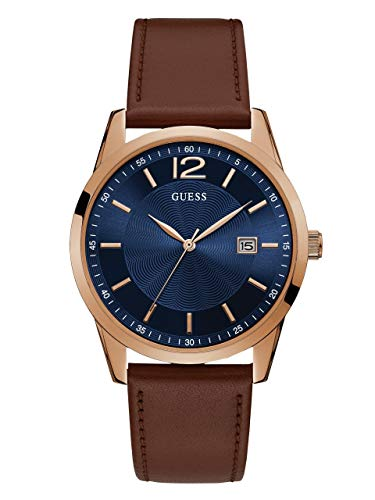GUESS  Brown + Blue Genuine Leather Watch with Date Function. Color: Brown (Model: U1186G3) ()