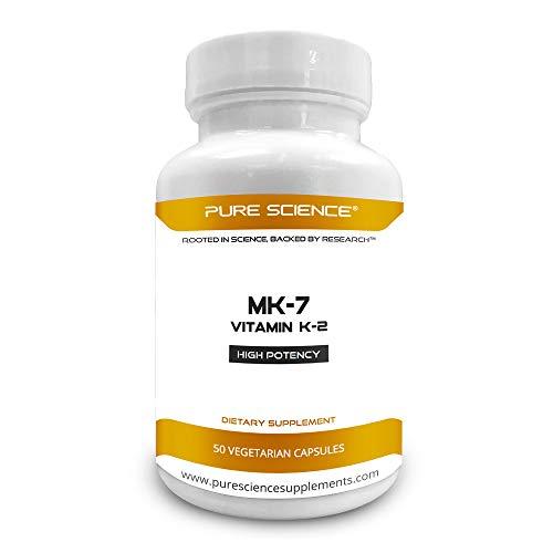 Pure Science Vitamin K2 (MK-7) 120mcg  with 5mg BioPerine (Nutrient Absorption Enhancer) - Boost Bone Mineral Density, Strengthen Bones – 50 Vegetarian Capsules