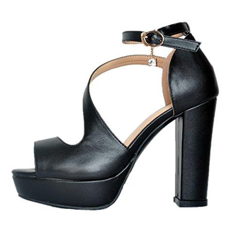 sandales bloc Peep Kolnoo talon boucle mode de de sangle Femmes Black de mode BFCM toe bal qFFw7EI