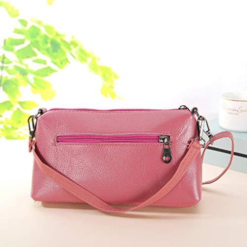 Kiminana Messenger Bags,Women's Fashion Simple Embroidery Multi-Function Zipper Shoulder Diagonal Package Pink by Kiminana (Image #1)