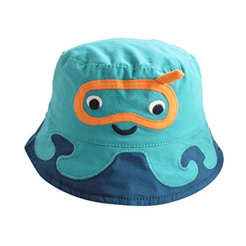 Tangda Kinder Hut Jungen Baumwolle Sonnenhut Kids Mütze Sommer Kappe UV Schutz Kindermütze 53cm - Blau