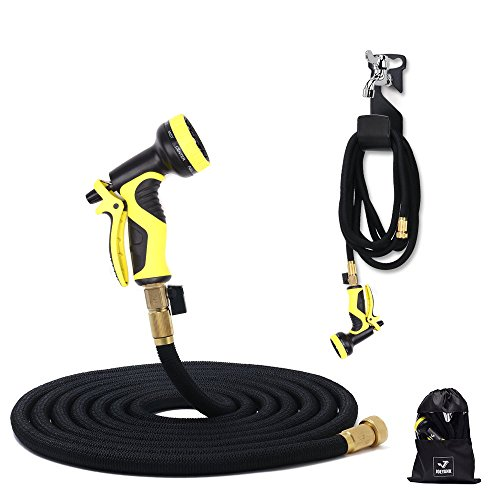 JOEYANK 50' Expandable Garden Hose , 9 Functions Sprayer, Expandable Water Hose With Double Latex Core, 3/4' Solid Brass Fittings - IMPROVED Expanding Hose - 12 Month Manufacturers Warranty
