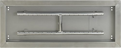 American Fireglass Stainless Steel Drop-In Fire Pit Pan and Burner, 24 by 8-Inch