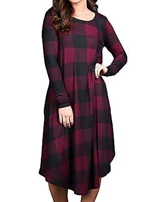 Ofenbuy Womens Dresses Casual Buffalo Plaid Long Sleeve Scoop Neck Loose Tunic Dress