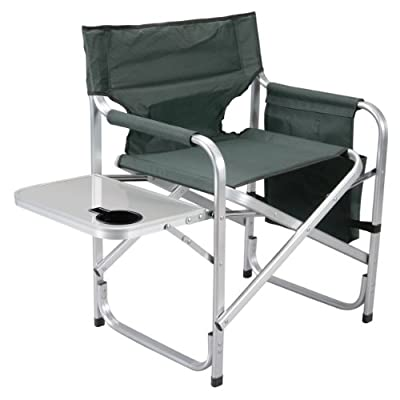 Faulkner Aluminum Director Chair with Folding Tray and Cup Holder, Green: Garden & Outdoor