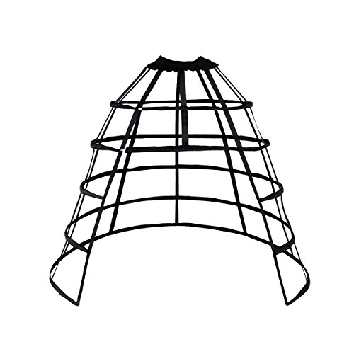 HappyStory Crinoline cage Hoop Skirt Petticoat Pannier 5 Hoops Bustle cage (Black Front-Open) by HappyStory