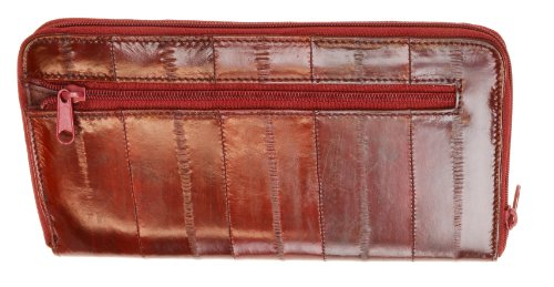 Skin Purse Eel (Eel Skin Women's Large Zip Around Wallet by Marshal (Burgundy))