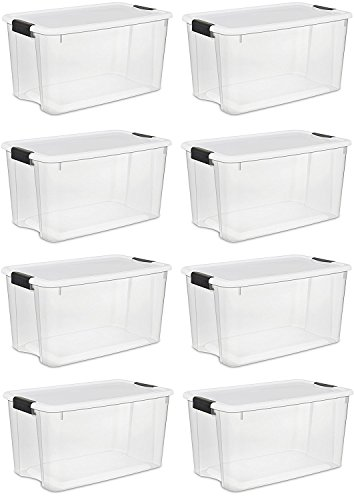 Sterilite 70 Quart/66 Liter Ultra Latch Box, Clear with a White Lid and Black Latches, (8-Pack) (70 Quart Ultra??? Storage Box)