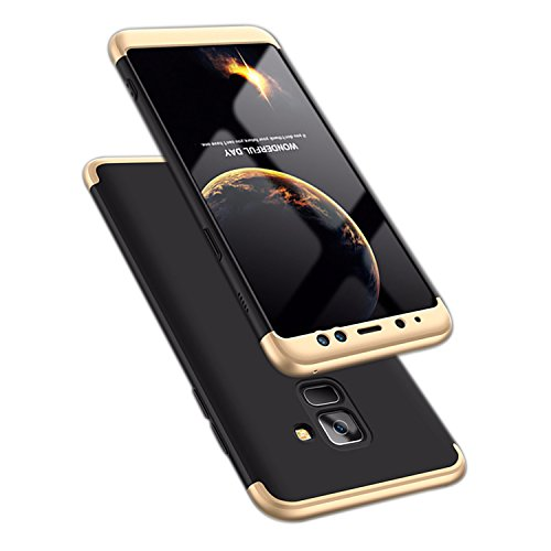 ATRAING Galaxy A8 Plus case, A Trading Shockproof Thin Hard Case Cover for Samsung Galaxy A8 Plus(2018)(Gold+Black+Gold)