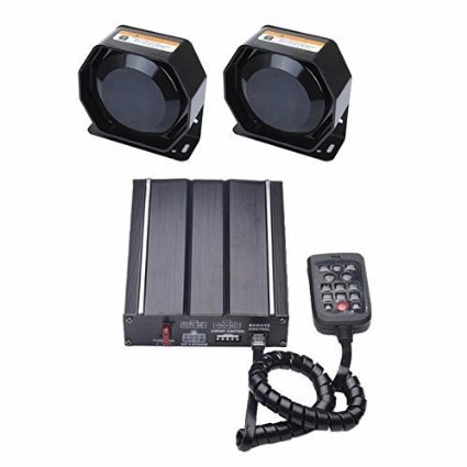AS 2X100W Wired Electronic Siren Kit A42-SPK0022 4-Piece Pack 20 Tones with Siren Box 2 Speakers Remote Control PA System Fit for Police Ambulance Fire Fighting Engineer Vehicles