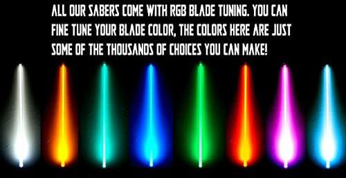 Light Saber, Color Changing, Dueling, Metal Hilt, FX LGT USA Black Custom RBG Combat Lightsaber with Sound 038