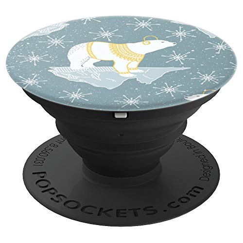 Polar bear with headphones in space - PopSockets Grip and Stand for Phones and Tablets ()