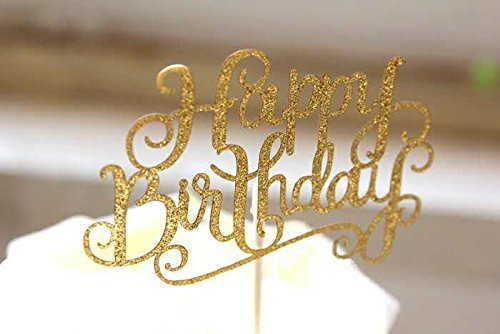 Pack of 10 Happy Birthday Cake Topper Glitter Letters Shining Flags Banner Decorations Tool Party Supplies Ideas, Gold