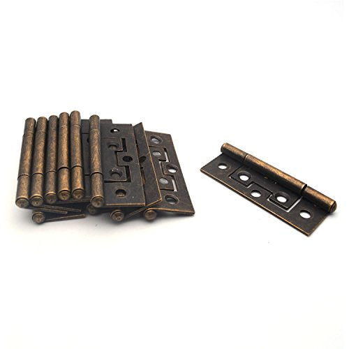 Antrader Non-Mortise Door Hinges 12pcs Cabinet Gate Closet Door Hinge Home Furniture Hardware with Mounting Screws Bronze Tone