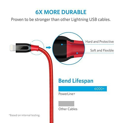 Anker PowerLine+ Lightning Cable (3ft) with Pouch, Nylon Braided Charging Cable for iPhone, iPad and More (Red) by Anker (Image #2)