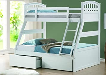 Joseph White Wooden Sturdy Triple 3 Sleeper Bunk Bed With 2 Quilted