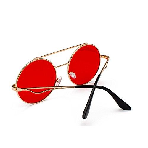 Gafas redondas a 60 mm Inlefen Marco y Rojo delgado Hombres Metal plana Y mujeres lente color SnPXIOP