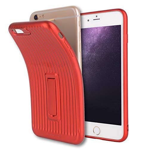 対話非公式パールiPhone6sケース iPhone6ケース 薄型 軽量 TPU スマホケース アイフォン6sケース アイフォン6ケース 耐衝撃 背面 カバー スタンド機能付 QI充電対応(レッド)