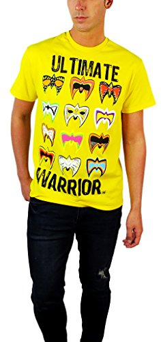 The Ultimate Warrior Multiple Masks Mens Yellow WWE T-shirt-M by WWE