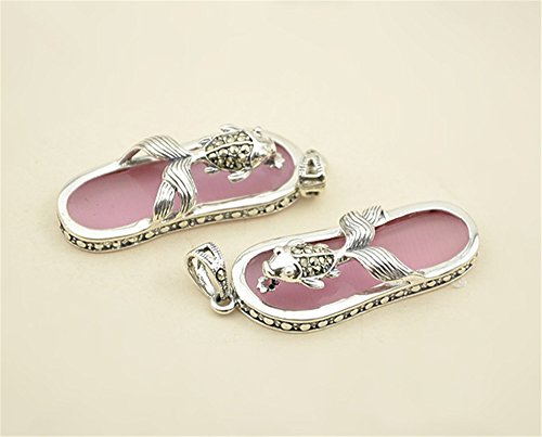 1pc Thai Sterling Silver Synthetic Pink Cat Eye Rhinestone Gold Fish Slipper Pendant 15mm*45mm (P146T)