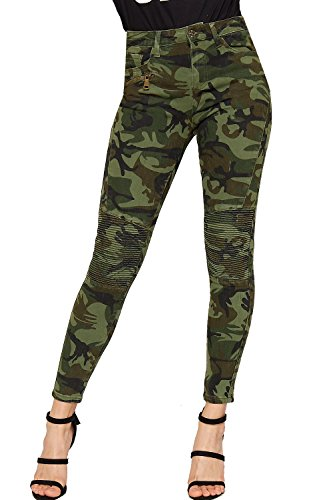 WearAll Women's Camouflage Print Skinny Leg Padded Biker Jeans Pants Trousers - Camouflage - US 6 (UK 10) (Army Jeans Print)