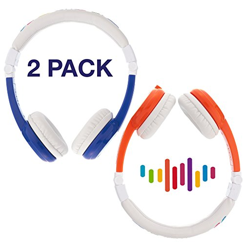 Explore Foldable Volume Limiting Kids Headphones | 2-Pack - Save 10% Compared to Purchasing Single Units | Great for School! | Blue & Orange by ONANOFF