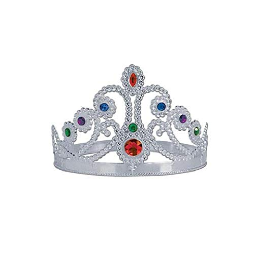 Bargain World Silver Plastic Jeweled Queen's Tiara (with Sticky Notes)