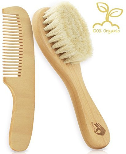 Natural Soft Newborn Baby Brush Set - Goat Hair Bristles with Eco-Friendly Wood Handle | Wooden Infant Cutie Comb by PomPerfect