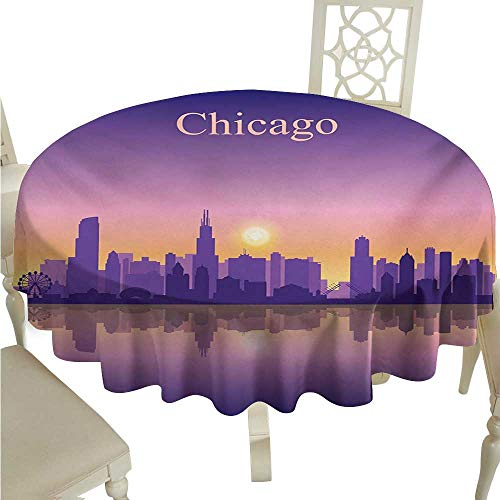 (Round Tablecloth Chicago Skyline,Sunset in Illinois American Horizon Behind High City Silhouettes,Purple Apricot Pink Diameter D60,for)